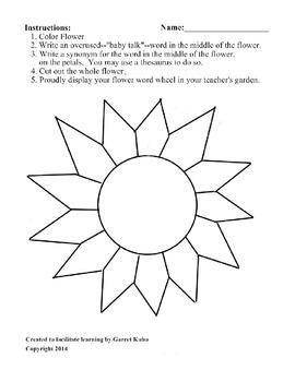 Flower Word Wheel Templates - Vocabulary - Writing