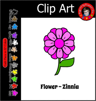 Flower ~ Zinnia Free Commercial Use Clip Art in 12 Shades