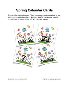 Spring Flower and Butterfly Calendar Cards