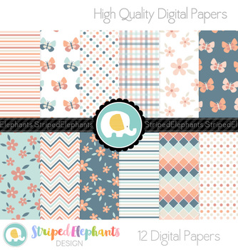 Flower and Butterfly Digital Papers