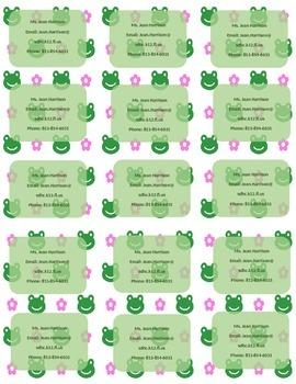 Flower and Frog Print Teacher Info Magnet **Editable