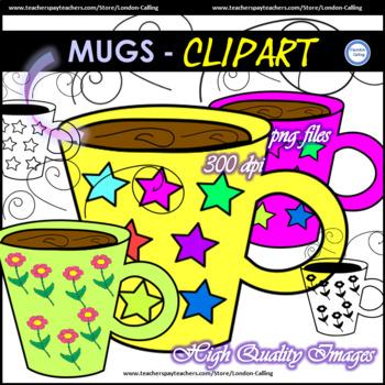 Flower and Stars MUGS Clip Art