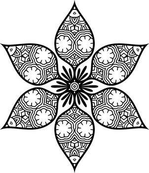 Flower and Sun Mandala Coloring Pages