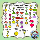 Flower and Vase Matching Shapes Clip Art