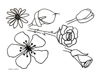 Flower clip art B&W