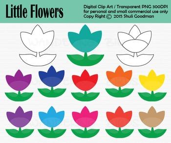 Flower clip art - set of 13 clip arts