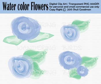Flower clip art - set of 4 clip arts
