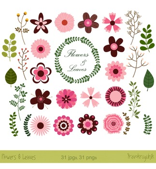Flower Clipart Retro Flowers Modern Flowers Clip Art In Pink And Brown