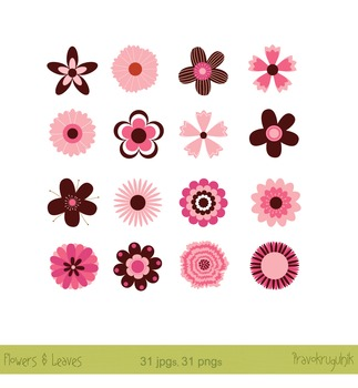 Flower clipart, Retro Flowers, Modern flowers clip art in pink and brown
