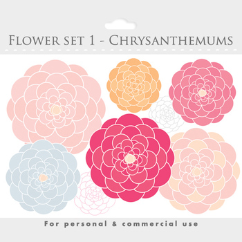 Flower clipart - blooms clipart, flowers, floral, floral clipart, pink, yellow
