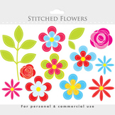 Flower clipart - floral clip art, floral clipart, flowers, stitched, whimsical