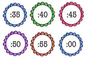 Flower clock minute signs
