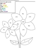 Flower color by sight word