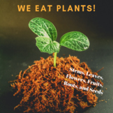 Parts of plants we eat - Stems, Leaves, Flowers, Fruits, R