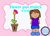 Flower pot number match 0 to 10 activity
