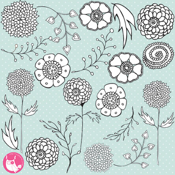 Flower stamps, black lines, commercial use, vector graphics, images  - DS316