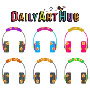 Flowerful Headsets Clip Art - Great for Art Class Projects!