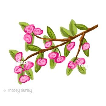 Flowering Branch clip art, pink flower clip art Printable Tracey Gurley Designs