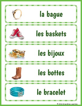 French Word Wall - Les Vêtements