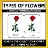 Flowers - 3 - Part Cards - Montessori - Editable