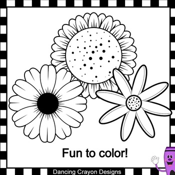 Flowers Clip Art: Black and White