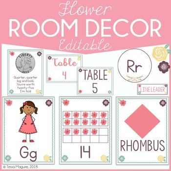 Flowers Classroom Decor {Editable}