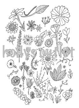 Flowers Clip Art Digital Download for Worksheets, Papers or Booklets