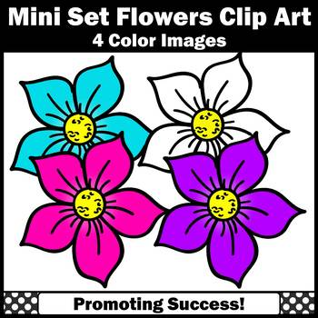 Purple, Turquoise and Pink Flower Clip Art, Commercial Use SPS