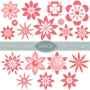 Flowers Clipart Coral Pink Flowers Floral Clip Art Scrapbook Summer Valentines