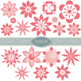 Flowers Clipart Coral Pink Flowers Floral Clip Art Scrapbo