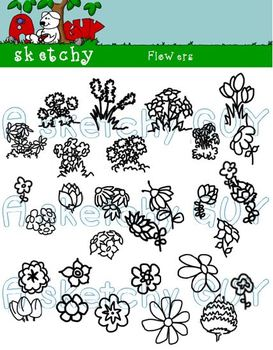 Flowers Clipart Graphics - 300dpi Color and Black Lined Transparent Background