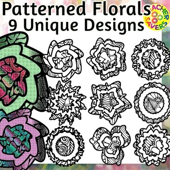 Flowers Coloring Clip Art Set Commercial and Personal Use