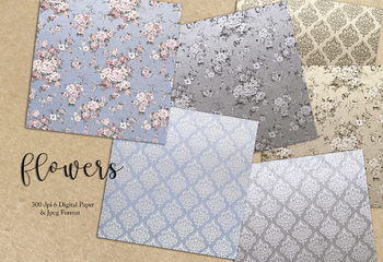 Flowers & Damask Digital Paper