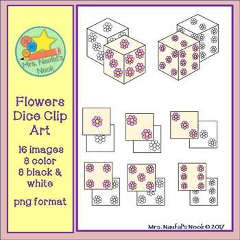 Dice Clip Art - Flowers Theme