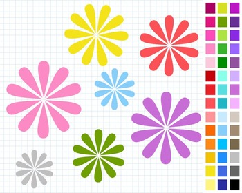Flowers Digital Clip Art, Floral Clipart, 43 Flowers