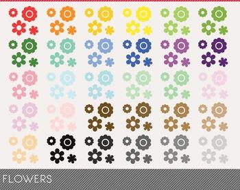 Flowers Digital Clipart, Flowers Graphics, Flowers PNG, Rainbow Flowers Digital