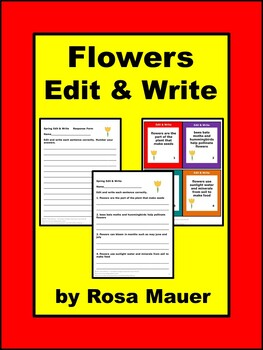 Flowers Edit and Write Task Cards and Worksheet