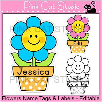 Flower Labels and Name Tags - Flower Theme