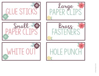 Flowers Editable Teacher Toolbox Labels