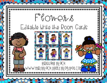 Flowers~ Editable Write the Room