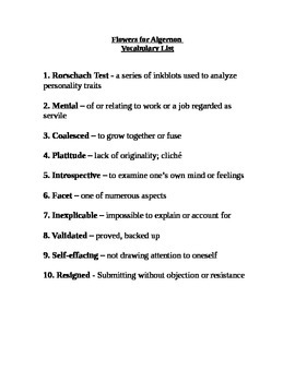 Flowers For Algernon vocabulary lists and quizzes