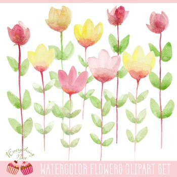 Flowers Hand Painted Watercolour Clipart Set