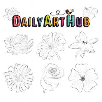 Flowers Line Art Clip Art - Great for Art Class Projects!