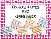 Flowers & Lines 12X12 Digital Paper
