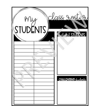 Flowers & Lines Black and White Sub Binder | Editable | Black and White