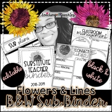 Flowers & Lines Black and White Sub Binder | Editable | Bl