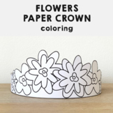 Flowers Paper Crown Printable Coloring Spring Summer Craft Activity for kids