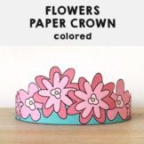 Flowers Paper Crown Printable Spring Summer Craft Activity for kids