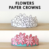 Flowers Paper Crowns Printable Coloring Spring Summer Craft Activity for kids