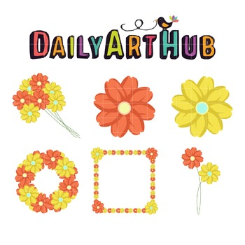 Flowers-Pretty Flowers Clip Art - Great for Art Class Projects!